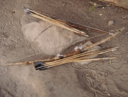 Arrowheads used by the Hadzabe: wood, metal, and poisoned metal.
