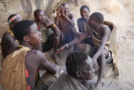 Men of the Hadzabe tribe before hunt
