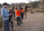 Shooting lesson with the bushmen.
