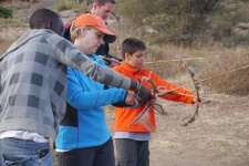 The Hadzabe bushmen were a little taken back when Shellie picked up a bow.