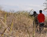 Aidan gets a hunting lesson.