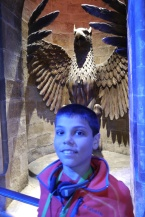 Aidan at the entrance to Professor Dumbledore's office.