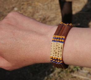 Shellie's bracelet made from elephant grass