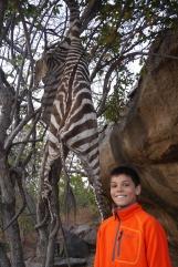 Aidan admiring the Hadzabe's latest kill: zebra