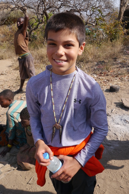 Aidan bought this necklace from the Hadzabe. The antlers are from a Dik-Dik. He's worn it all around Africa.