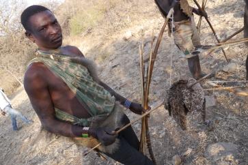 Hadzabe bushman showing off his kill, Sandgrouse.