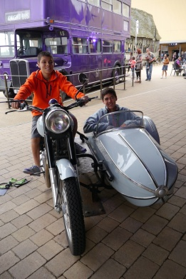 Aidan at the controls of Hagrid's motorbike. Nathan is a reluctant passenger.