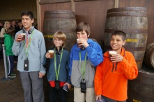 The boys belly up to the Butter Beer bar.