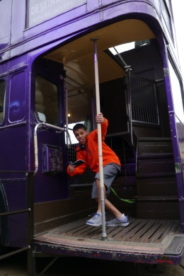 Aidan exiting the Knight Bus.