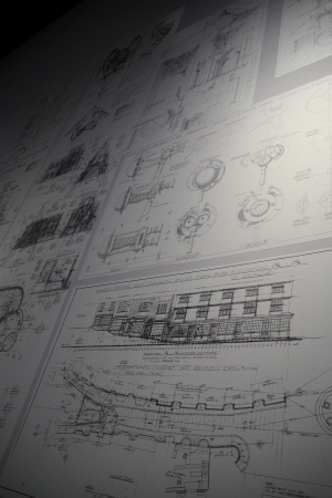 Drawings of props and sets prior to being built.