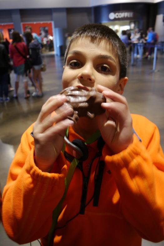 Aidan samples his Chocolate Frog.