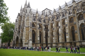 The lines outside Westminster Abbey.