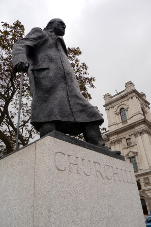 Statue of Winston Churchill across from Parliament.