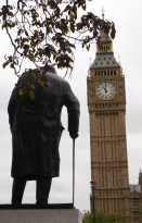 The state of Churchill looks on to Parliament and Big Ben.