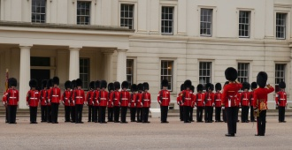 Guards at Wellington Barrack just before the march to Buckingham Palace.
