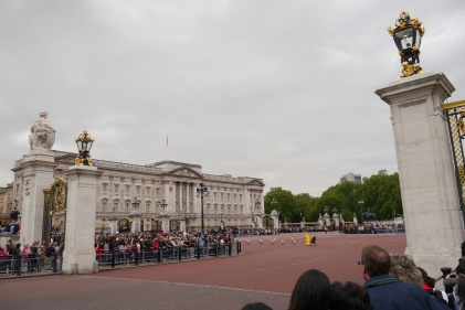 Crowds line the street, waiting for the Changing of the Guard parade.