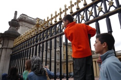 Aidan found himself a spot to watch the Changing of the Guard, that is until a palace police officer politely told him to get down.