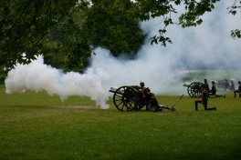 There are six cannons. Each takes several turns firing. In all, there were 41 shots - 21. We were told by an older British man standing next to us that the Royals always get a 41-gun salute.