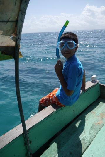 Aidan preparing to snorkel