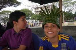Nathan is mortified that Aidan is wearing his grass hat in public.