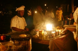 Making Zanzibar pizza at night market