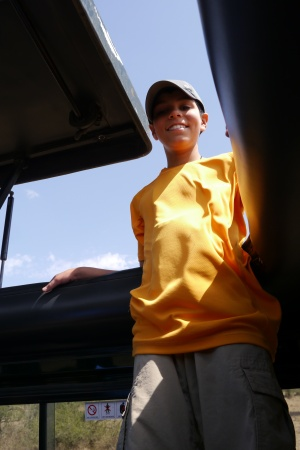 Aidan in the Land Cruiser with the top open