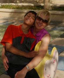Aidan and Shellie at playground