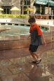 Aidan seeks out water wherever he goes, but he especially does when it's 100-degrees!