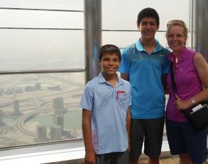 Aidan, Nathan, and Shellie atop Burj Khalifa