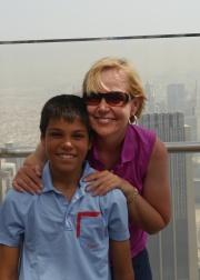 Aidan and Shellie on observation deck of Burj Khalifa