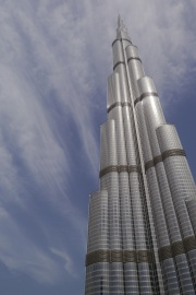 Burj Khalifa, the world's tallest structure, at 828 meters
