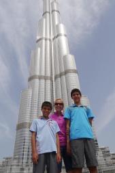 Aidan, Shellie, and Nathan in front of Burj Khalifa