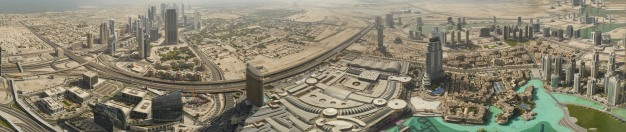 Using an app called AutoStitch, I combined 58 photos shot from the Burj Khalifa observation deck to create this panoramic image.