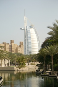 Difficult to tell from this angle, but the Burj al Arab is actually on it's own man-made island.