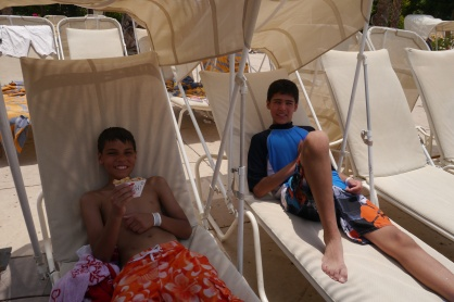 Aidan and Nathan having a bit of lunch in the shade
