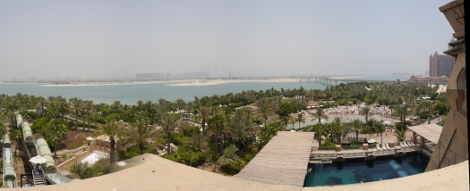 View from the top of Leap of Faith. The Palm Jumeirah spreads out in the distance.