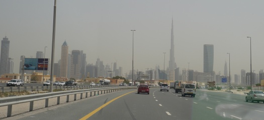On the way out of Dubai, you can see that Burj Khalifa dwarfs all the other skyscrapers.