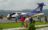Our Buddha Air flight, just landed in Pokhara