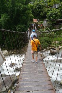 Bridge crossing in Birethanti