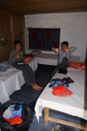 Teahouses are pretty basic. The boys are giving their assessment of the trek.