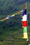 While the vast majority of Nepalese are Hindu, many people in the mountains are Buddhist. These are Buddhist prayer flags.