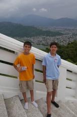 Aidan and Nathan at the Peace Pagoda overlooking Pokhara