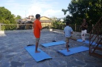 Yoga on the roof of the hotel