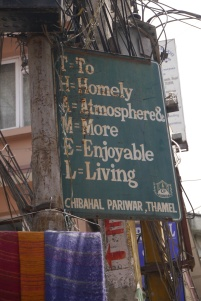 Amusing sign in Thamel district