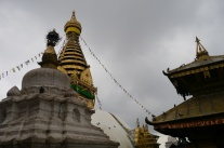 On the left, you still the gold top of the stupa; on the right, you see the top of the Hindu temple.