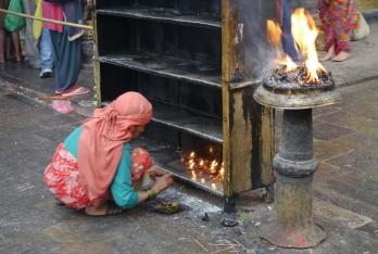 Burning offerings to Hindu gods