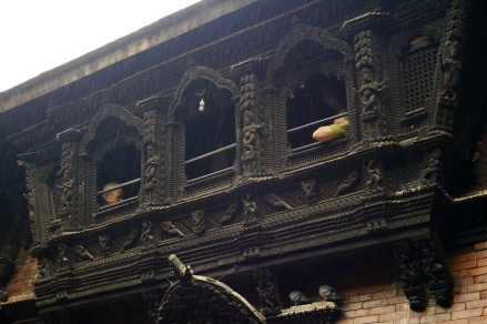 The Kumari appeared at this center window a few minutes earlier; however you're not allowed to photograph the girl.