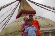 Shellie, Aidan, and Nathan at Boudhanath
