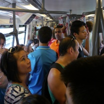 Crowded Skytrain. Aidan's in there somewhere!