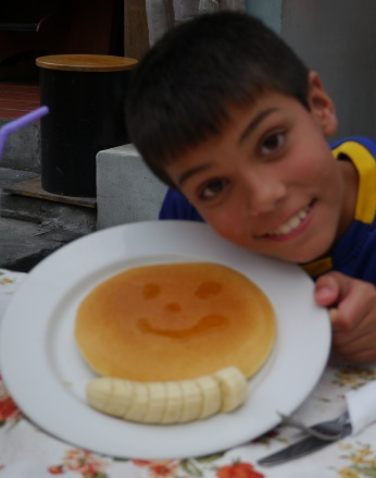 Aidan's goal is to eat pancakes in every country we visit. So far, he's on track.